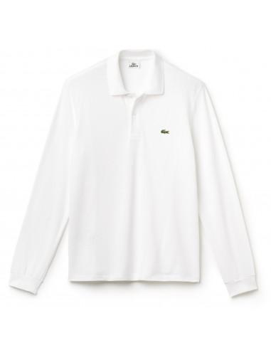 Polo Lacoste Classica maniche lunghe Blanc