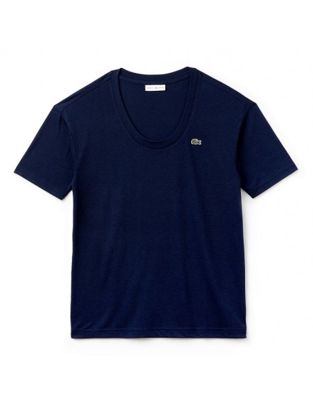 T-Shirt Lacoste Donna collo a U Marine