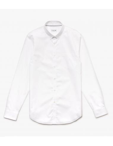 Camicia Regular Fit in mini piqué di cotone Blanc