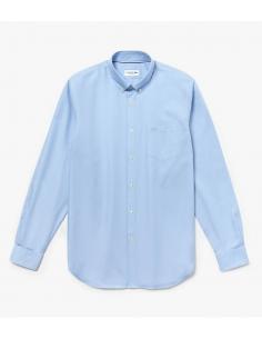 Camicia Regular Fit in mini piqué di cotone Blu Chiaro