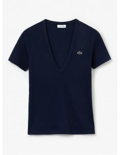 Damen T-Shirt Lacoste aus weicher Baumwolle mit V-Ausschnitt