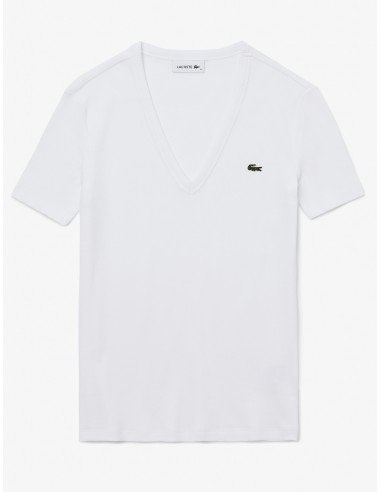 T-shirt Lacoste Donna con scollo a v in cotone